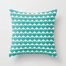 Mint heart pattern Throw Pillow