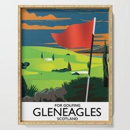 Gleneagles Scotland Golf travel poster Serving Tray
