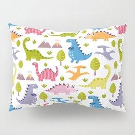 Hand painted green pink orange violet dinosaurs illustration Pillow Sham