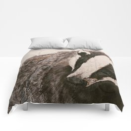 Watercolor Badger Painting Comforters