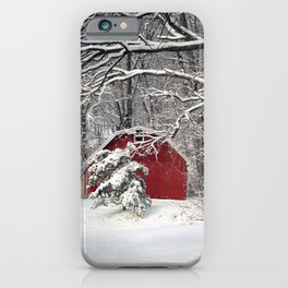 Red Barn in the Snow iPhone Case