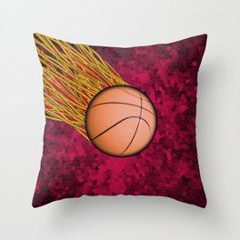 Flaming Basketball on Pink Throw Pillow
