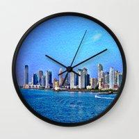 new york skyline Wall Clocks featuring New York  Skyline   by Judy Palkimas