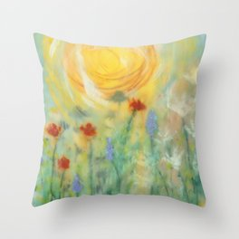 Sunny Day with Flowers Throw Pillow