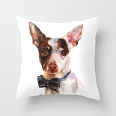Chihuahua, dog painting, puppy prints, bow tie, watercolor Throw Pillow