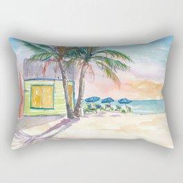 Caribbean Surf Beach Bar Boards and Sunset Rectangular Pillow