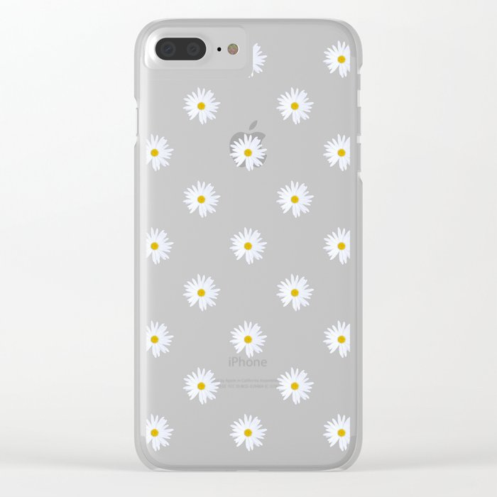 save off c903a e0eb3 Daisies in Love - Daisy Summer Pattern Clear iPhone Case