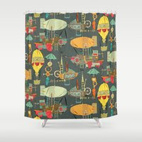 aviation Shower Curtains featuring steampunk sky dark by Sharon Turner
