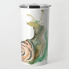 Searching - Watercolor and Gold Leaf Snail Travel Mug