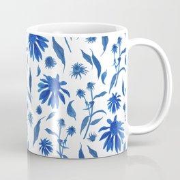 Elegant Indigo Blue Echinacea Cone Flowers Floral Pattern Coffee Mug