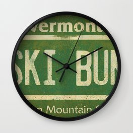 Vermont Ski Bum License Plate Wall Clock