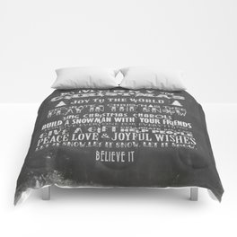 Christmas Chalk Board Typography Text Comforters