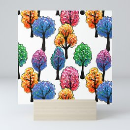 Forest - Tree Pattern Illustration - Acrylic Painting Mini Art Print