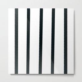 MOD_ThickStripesLight_Charcoal Metal Print