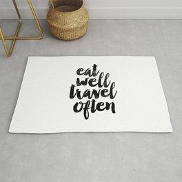 Eat Well Travel Often black and white typography poster black-white design bedroom wall home decor Rug