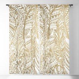 Elegant gold foil bohemian aztec feathers Blackout Curtain