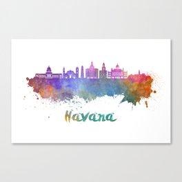 Havana V2 skyline in watercolor Canvas Print