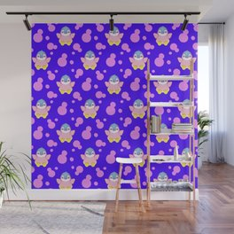 Cute sweet lovely little baby penguins flapping wings and bold pink retro dots pretty blue pattern Wall Mural