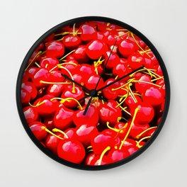 cherries pattern reacstd Wall Clock