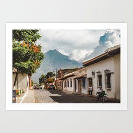 Beautiful lush street in Antigua Guatemala with volcano views Art Print