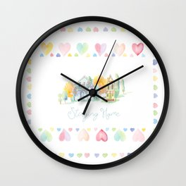 Little Houses: Staying Home Wall Clock