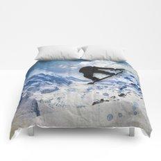 Snowboarder In Flight Comforters