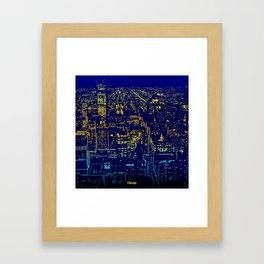 Chicago city lights at night Framed Art Print