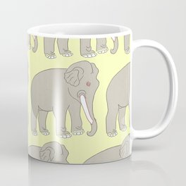 Vintage Elephant Illustration Pattern (GREY) Coffee Mug
