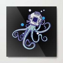 Scuba Diver Octopus Design Octopus Helmet Metal Print