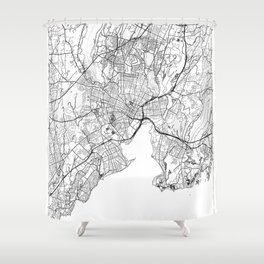 New Haven Map White Shower Curtain