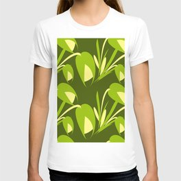 Spring flowers and green tulips on a green background. T-shirt