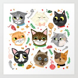 Neighborhood Cats Art Print