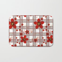 Abstract floral pattern on a white background in a cage. Bath Mat