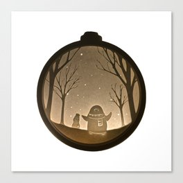 Penguin playing in the snow, Christmas Bauble Paper Cut Canvas Print