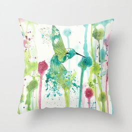 Colibri in a field of flowers Throw Pillow