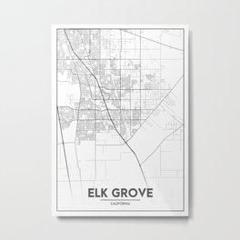 Minimal City Maps - Map Of Elk Grove, California, United States Metal Print