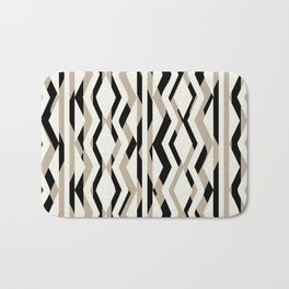 Abstract Cream Brown Black Geometric Pattern Bath Mat