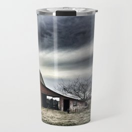 Dark Sky Over Red Barn Travel Mug