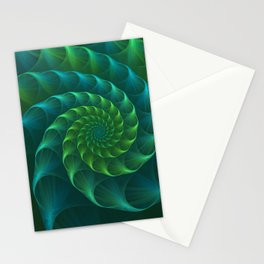 Blue And Green Nautilus Shell Stationery Cards