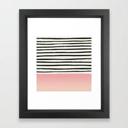 Blush x Stripes Framed Art Print