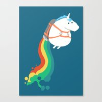 fly Canvas Prints featuring Fat Unicorn on Rainbow Jetpack by Picomodi