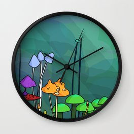 Family of Mushrooms Wall Clock