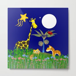Giraffe, Tiger, Lion & White Moon on Blue Background Metal Print
