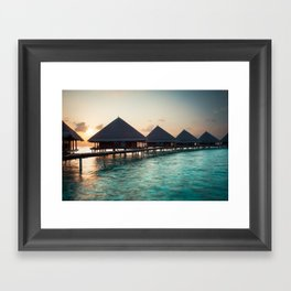 waterbungalows at sunset Framed Art Print