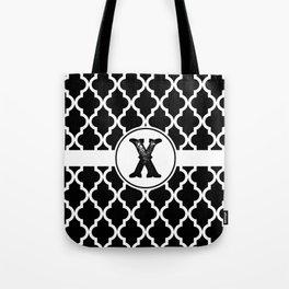 Black Monogram: Letter X Tote Bag