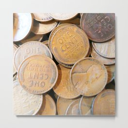 Watercolor Coins, Lincoln Wheat Pennies, 1938 04 Metal Print