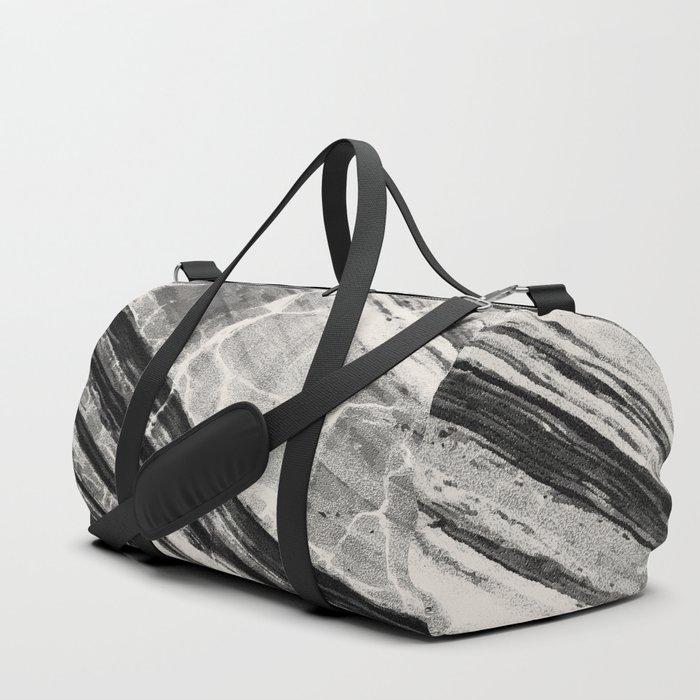 Abstract Marble - Black & Cream Duffle Bag