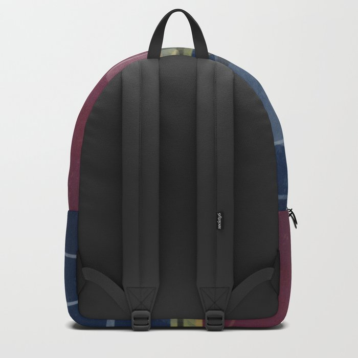 Abstract painting in blue red colours . Backpack