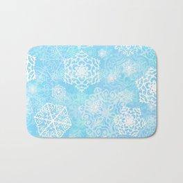 Snowflakes - Blue Bath Mat