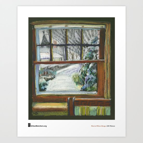 "Marcia Milner-Brage, ""Snow Again Out Front Window"" Art Print"